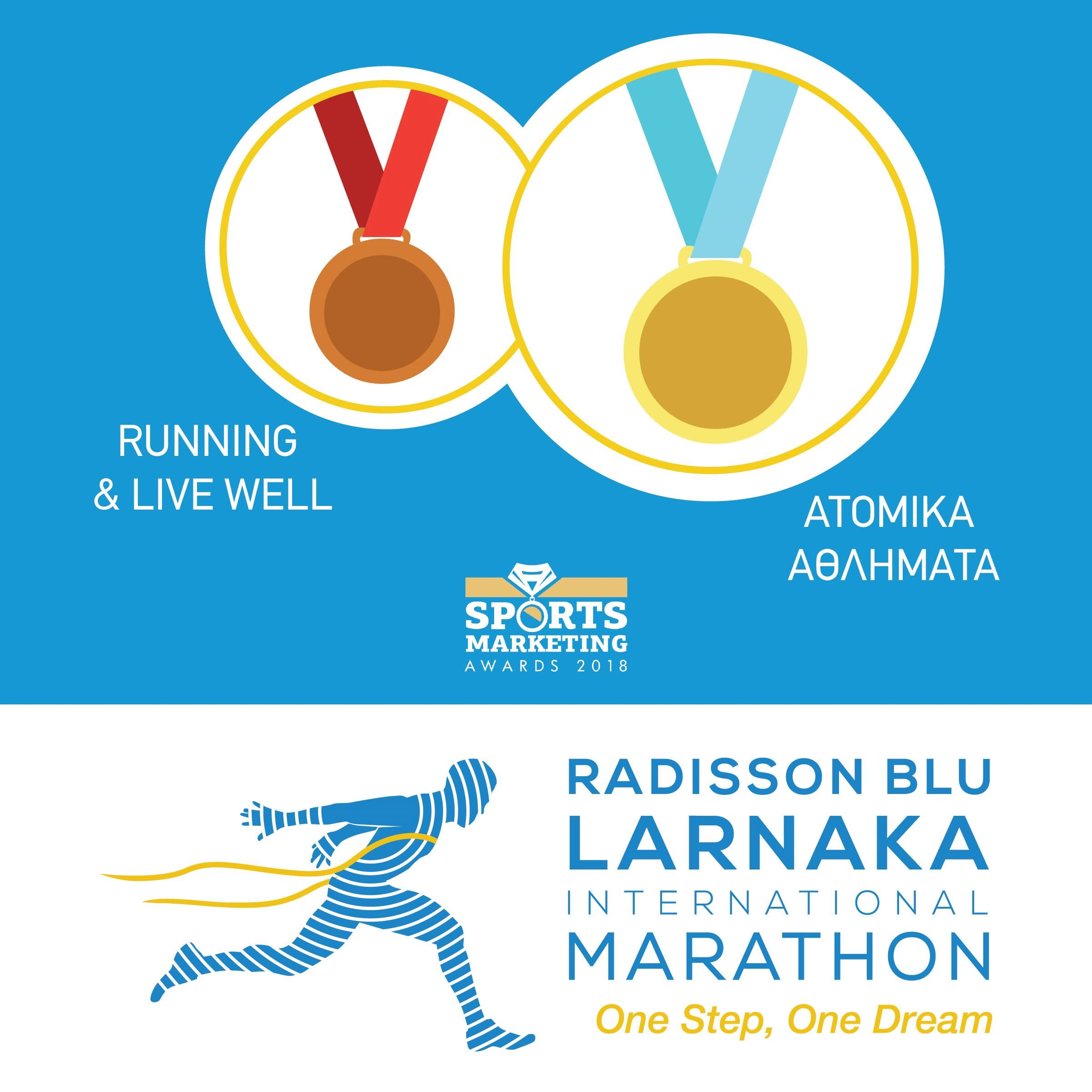 The Radisson Blu Larnaka International Marathon reached the top of the competition for quality of the event, and is awarded with two prizes.