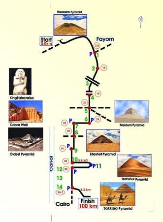 100 km Pharaonic Race Route Map