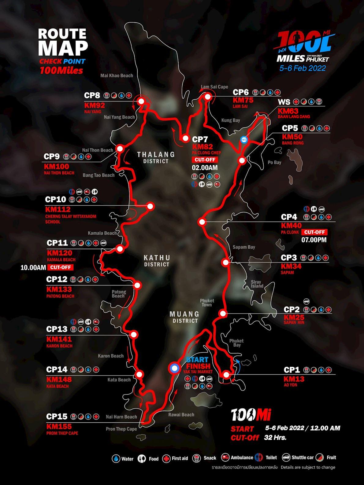 100Miles Phuket Route Map