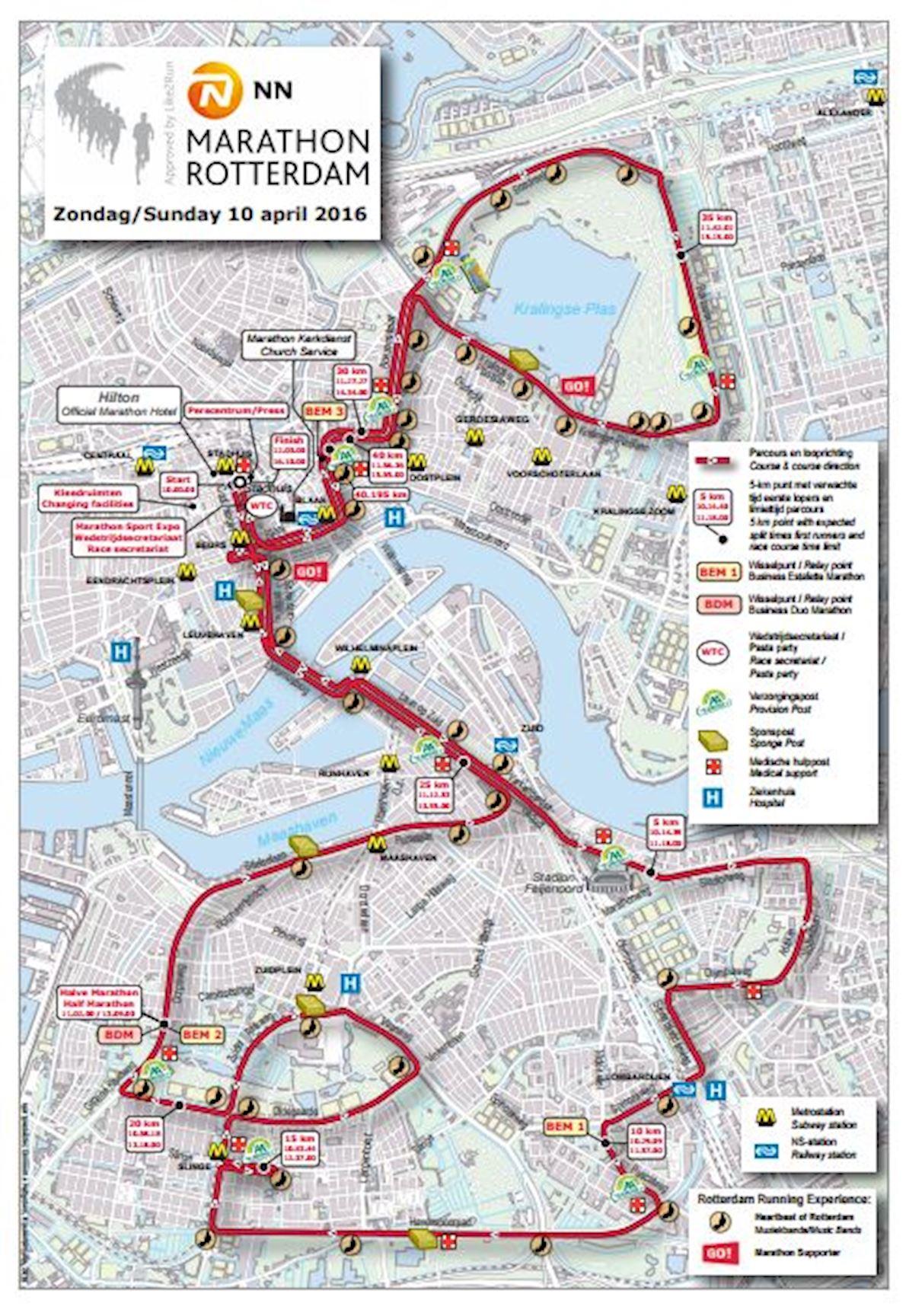 NN Marathon Rotterdam Route Map