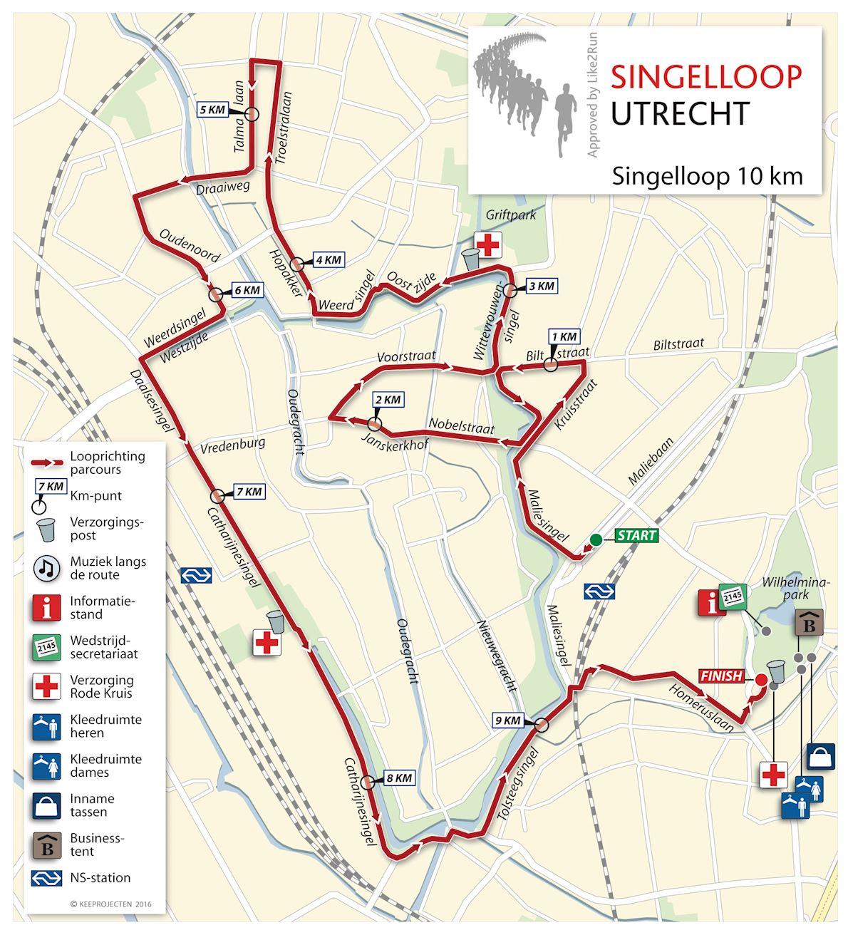 Singelloop Utrecht Routenkarte