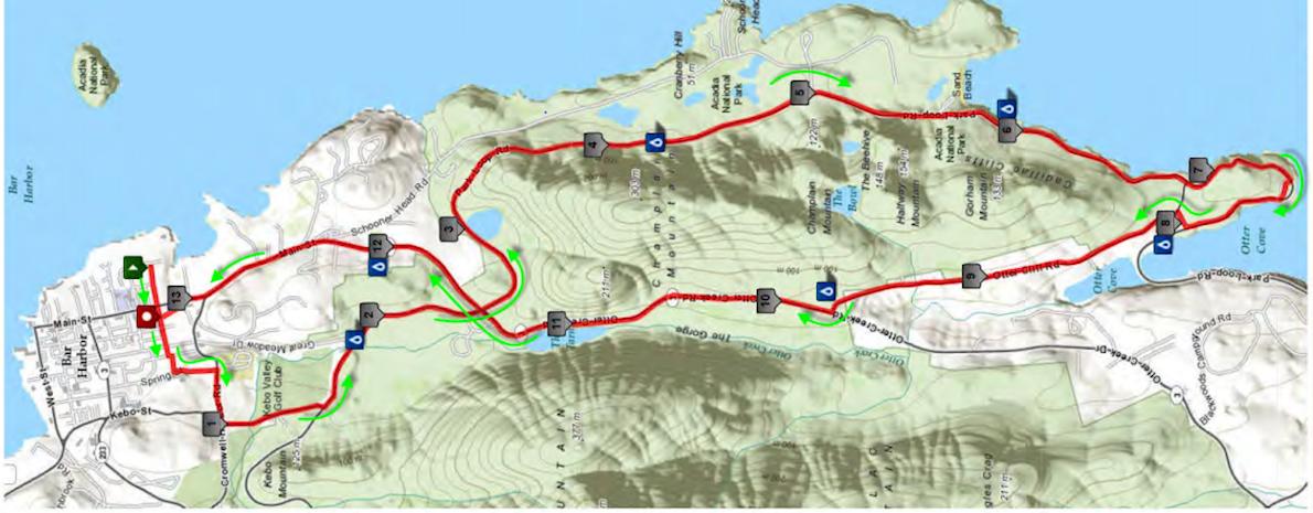 Acadia National Park Half Marathon Mappa del percorso