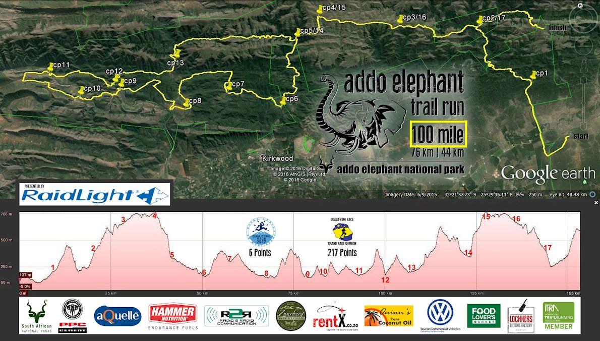 Addo Elephant Trail Run MAPA DEL RECORRIDO DE