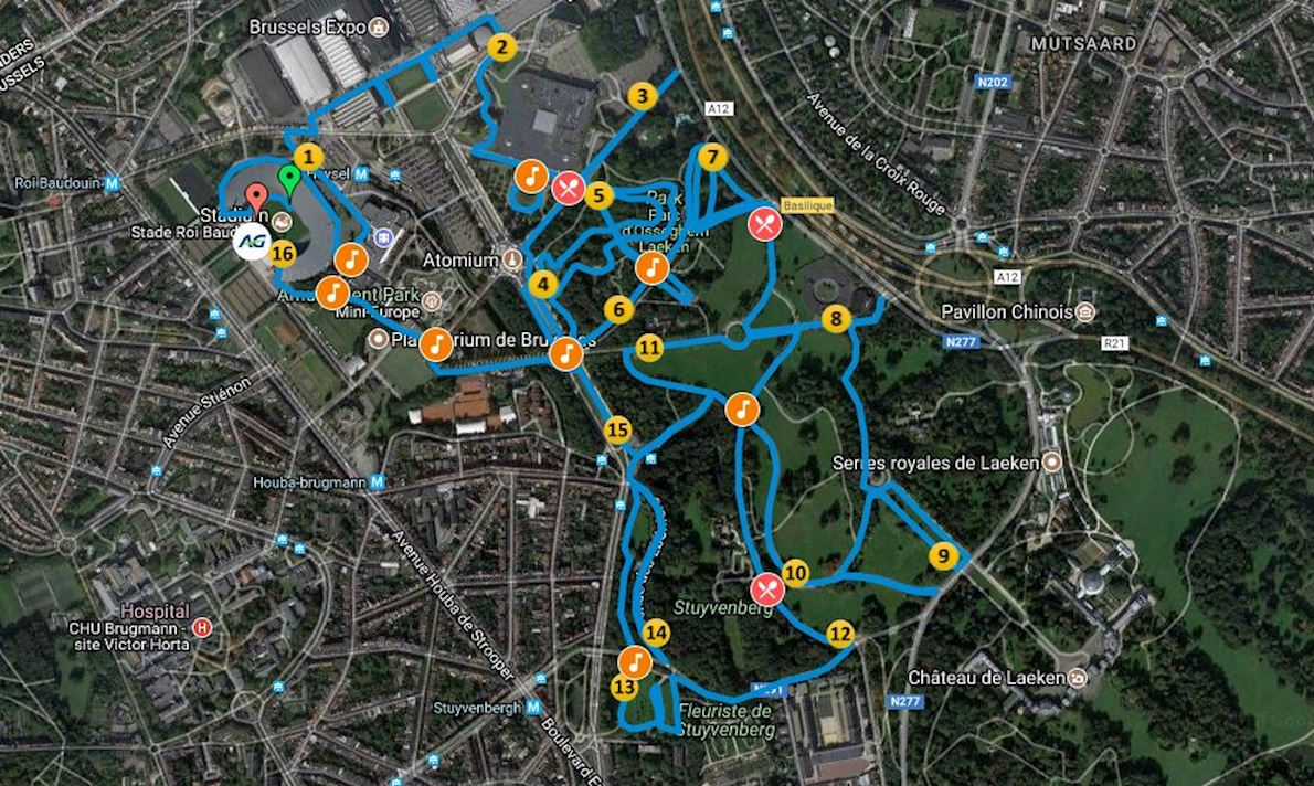 AG Brussels 10 Miles Route Map