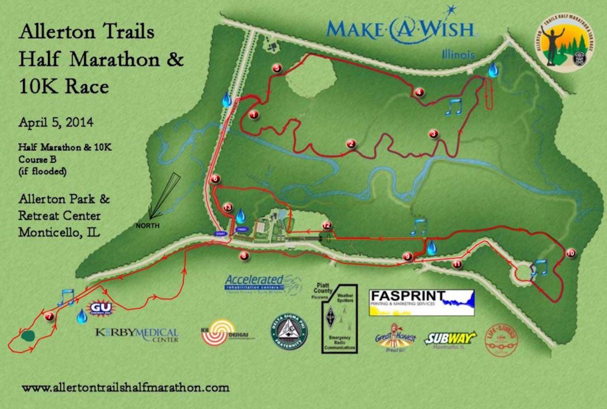 Allerton Trails Half Marathon & 10K Race 路线图