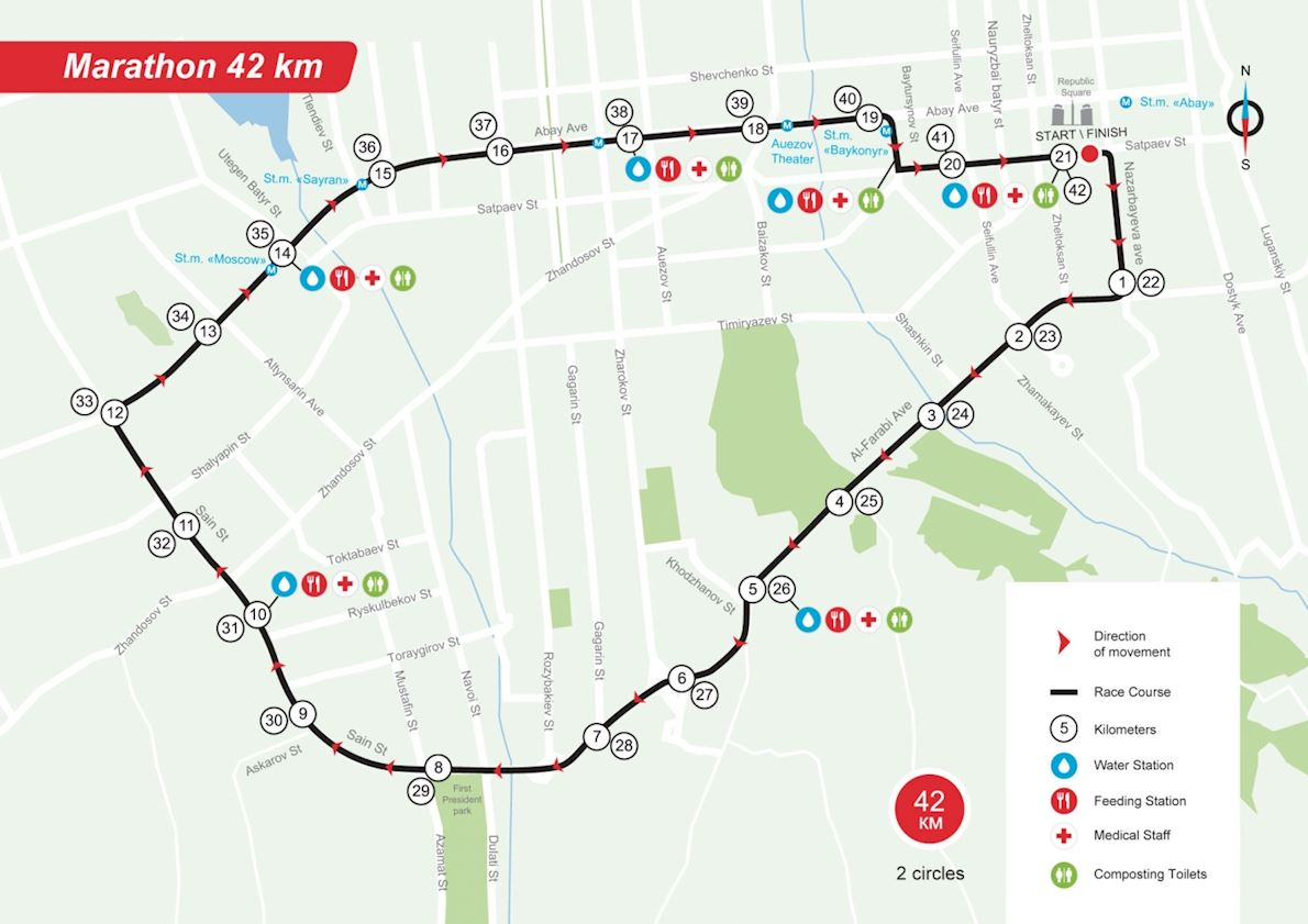 Almaty Marathon 2019 Route Map