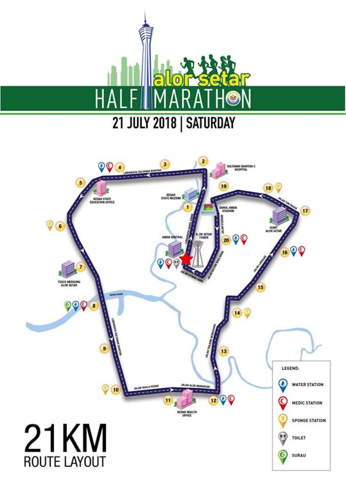 Alor Setar Half Marathon Route Map