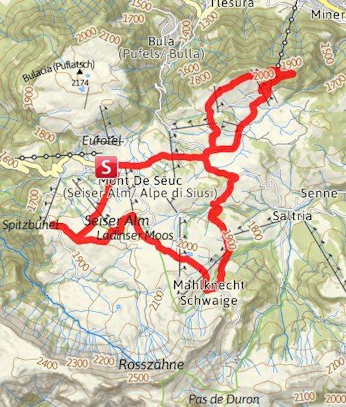Alpe di Siusi Half Marathon in the Dolomites Mappa del percorso