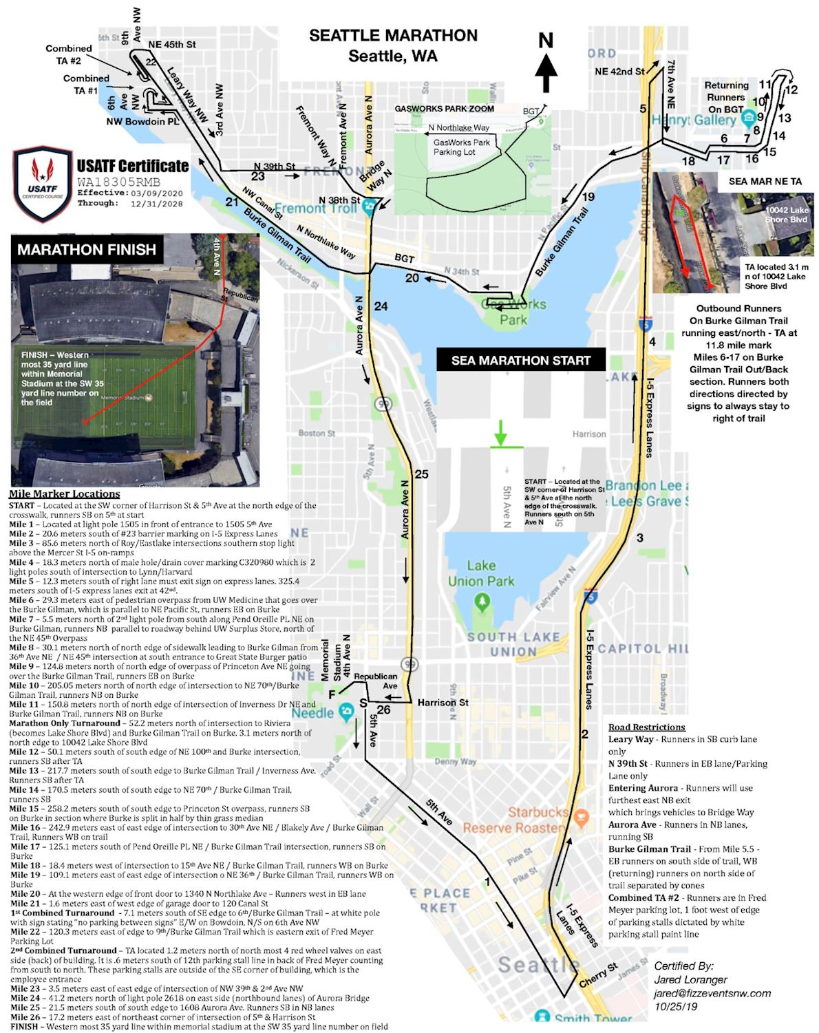 Amica Insurance Seattle Marathon Route Map