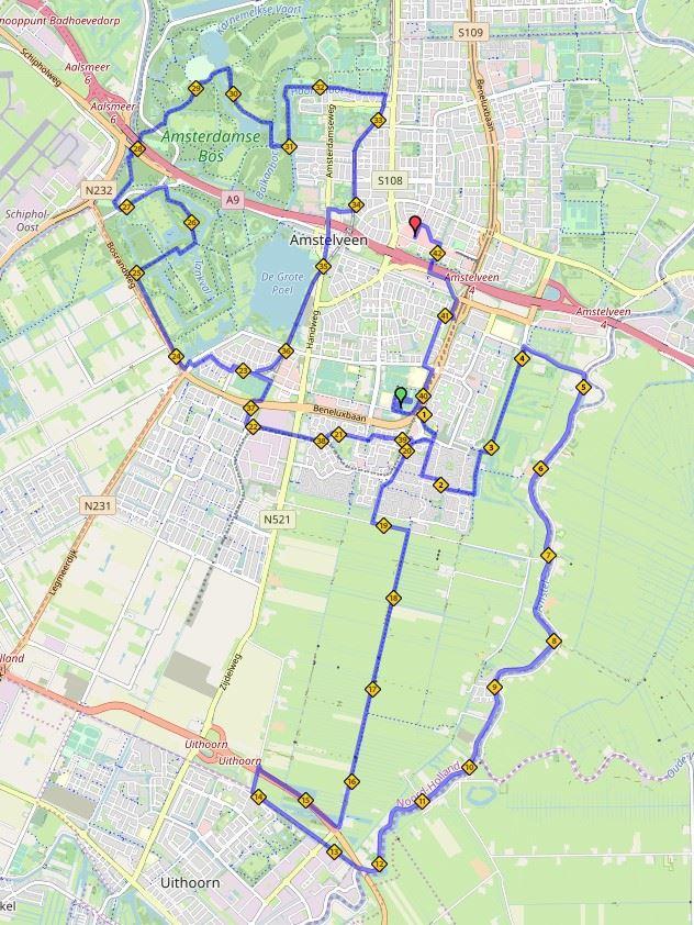 AmstelveenZ Lentemarathon Route Map