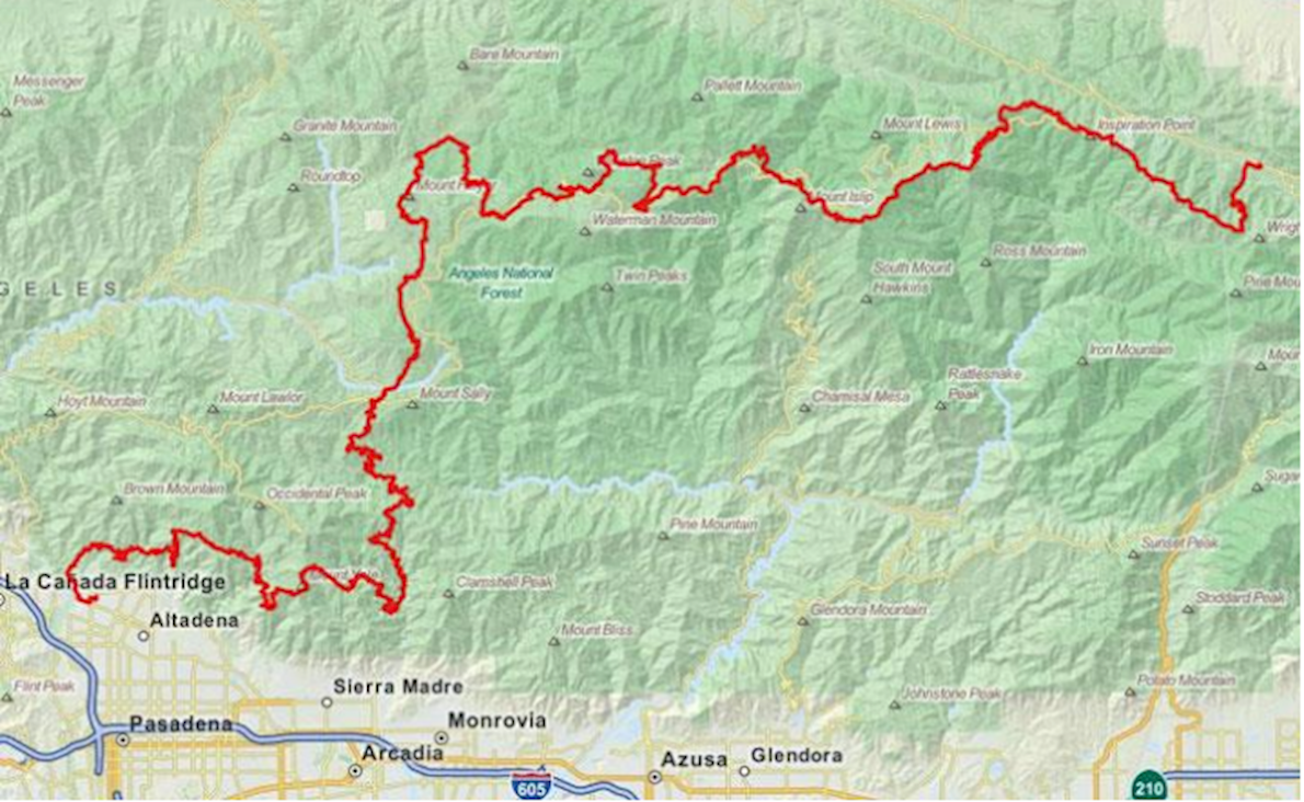 Angeles Crest 100 Mile Endurance Run Mappa del percorso