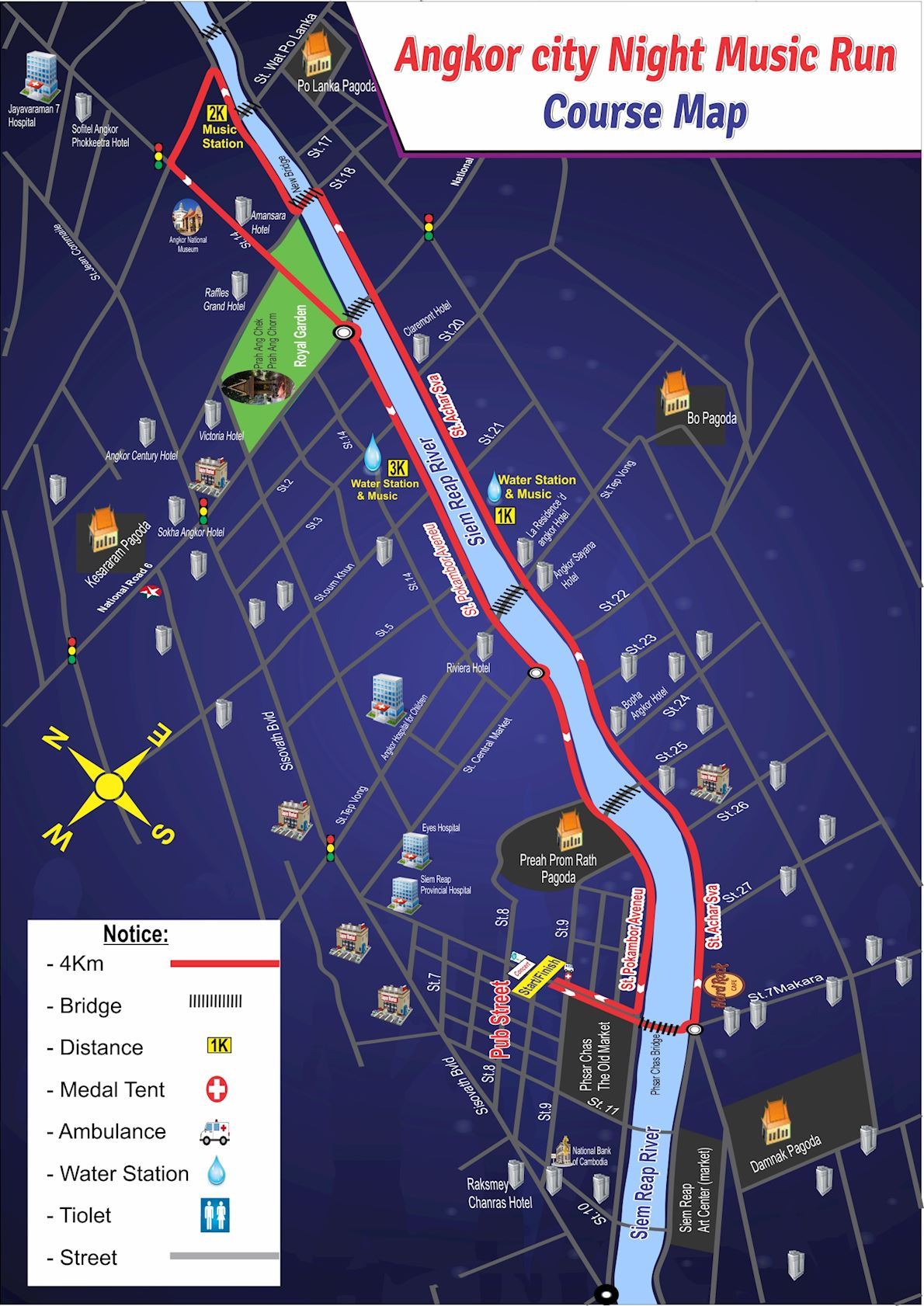Angkor City Night Run Route Map