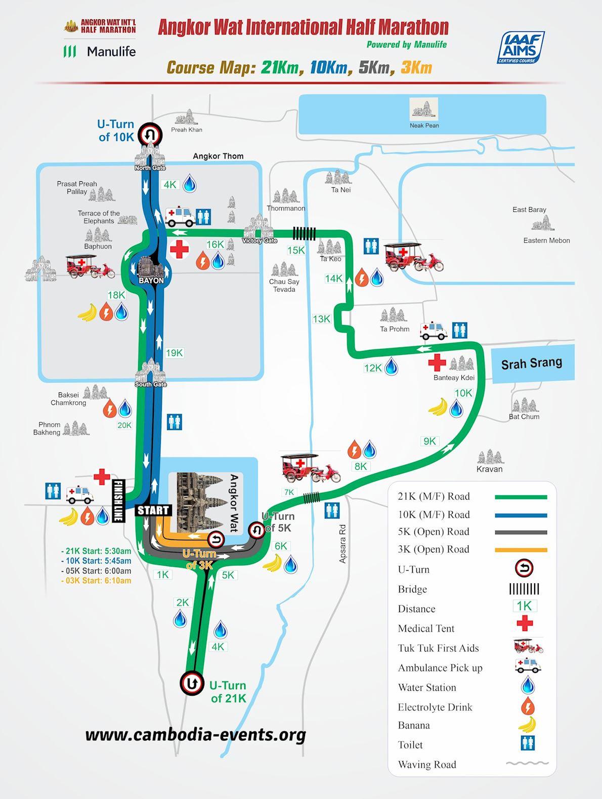 Angkor Wat Map Angkor Wat International Half Marathon, Dec 08 2019 Angkor Wat Map