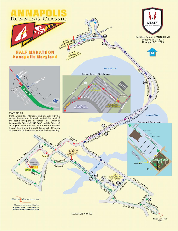 Annapolis Running Classic Routenkarte