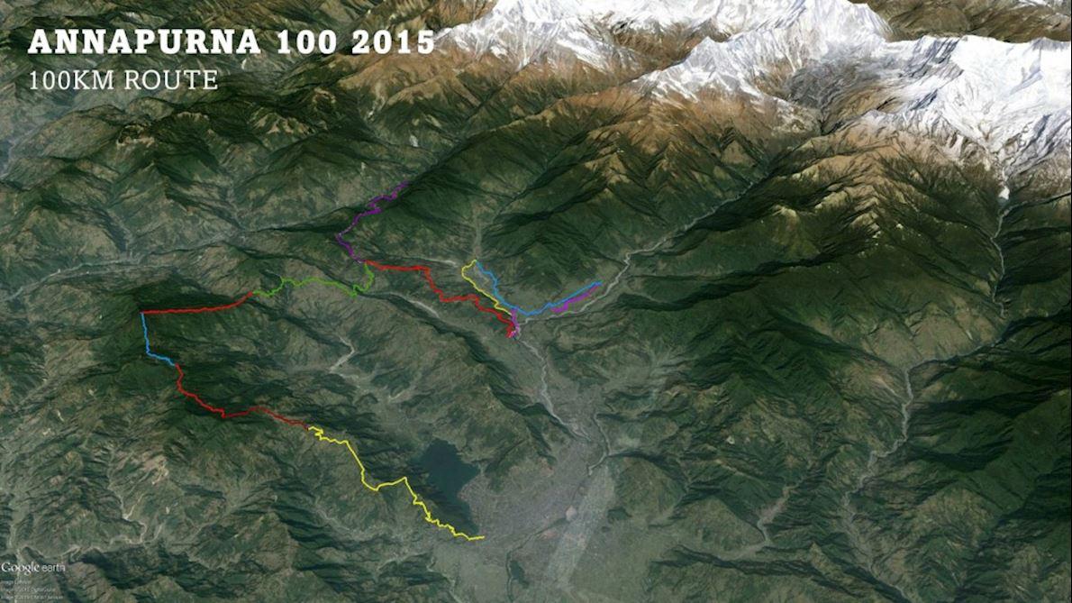 Annapurna 100 MAPA DEL RECORRIDO DE