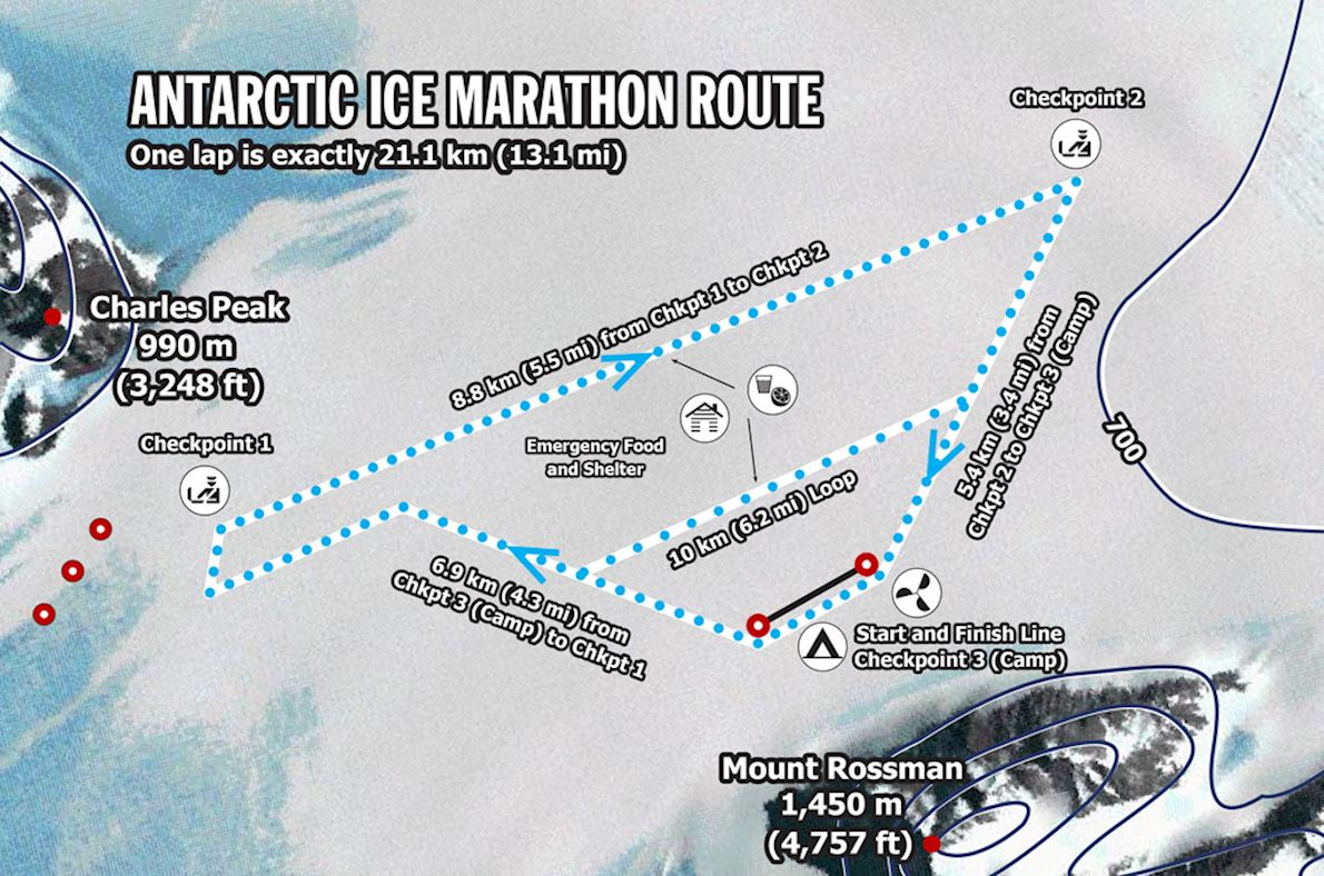Antarctic Ice Marathon & Half Route Map