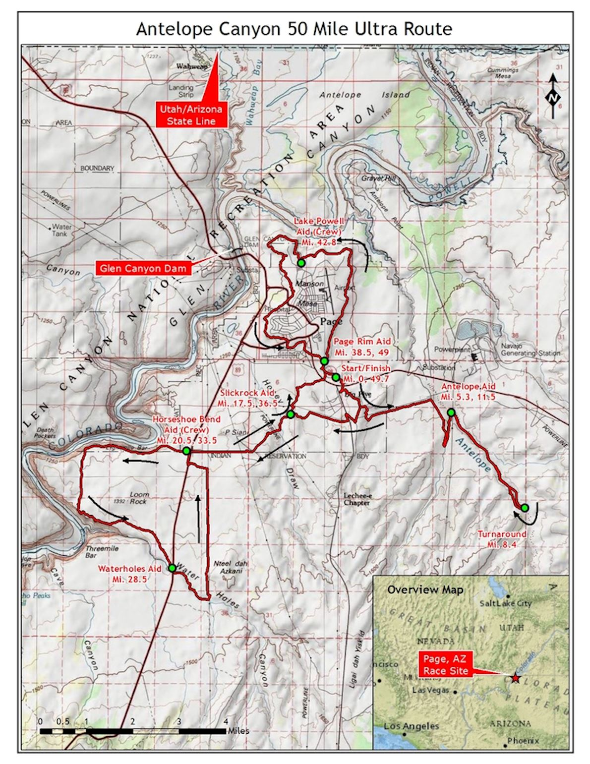 Antelope Canyon Ultra Marathons Route Map