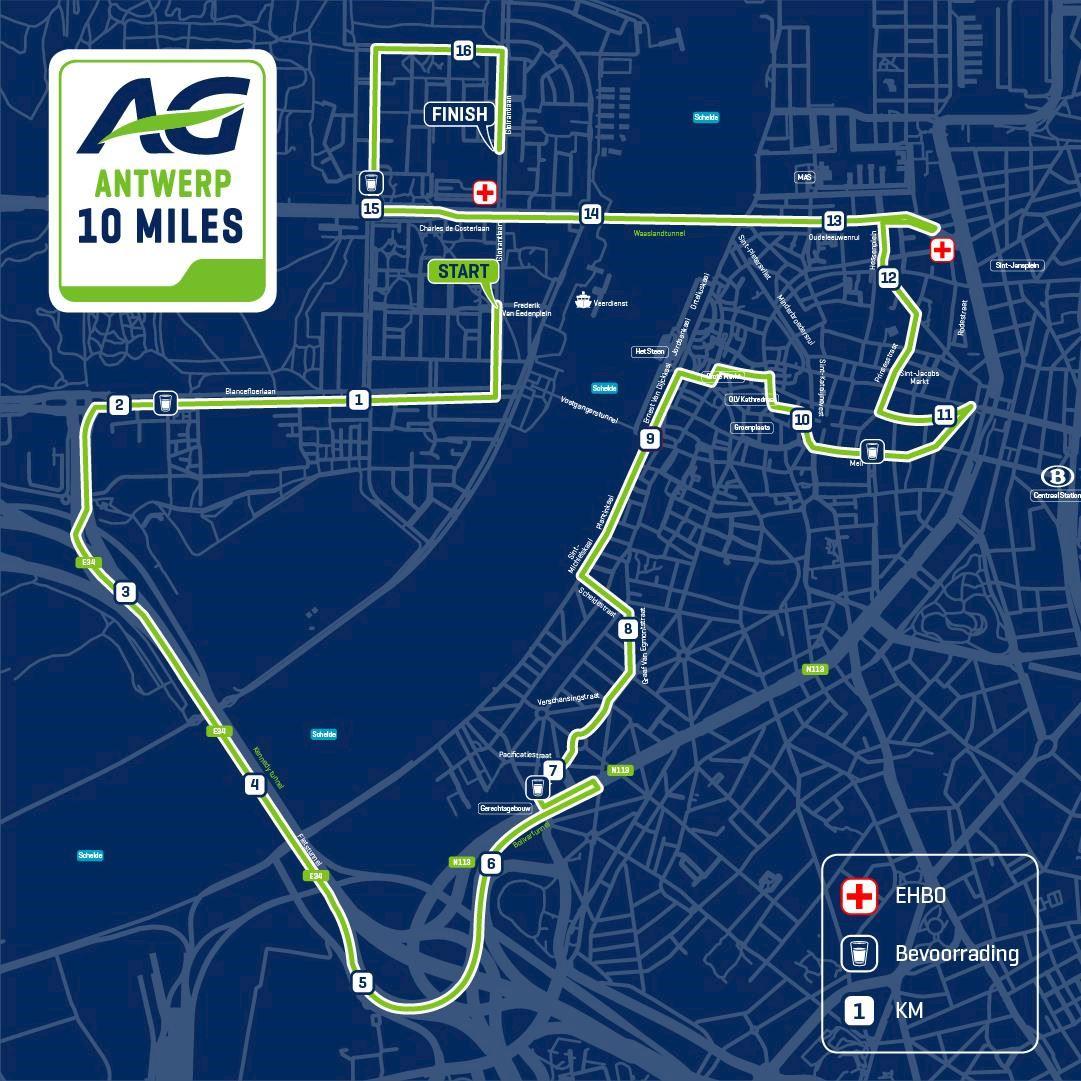AG Antwerp 10 Miles MAPA DEL RECORRIDO DE