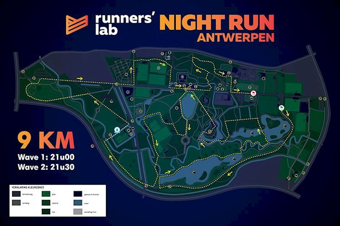 Antwerp Runners' lab Night Run Route Map