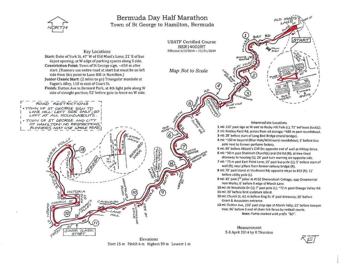 Bermuda Day Half Marathon Derby Routenkarte