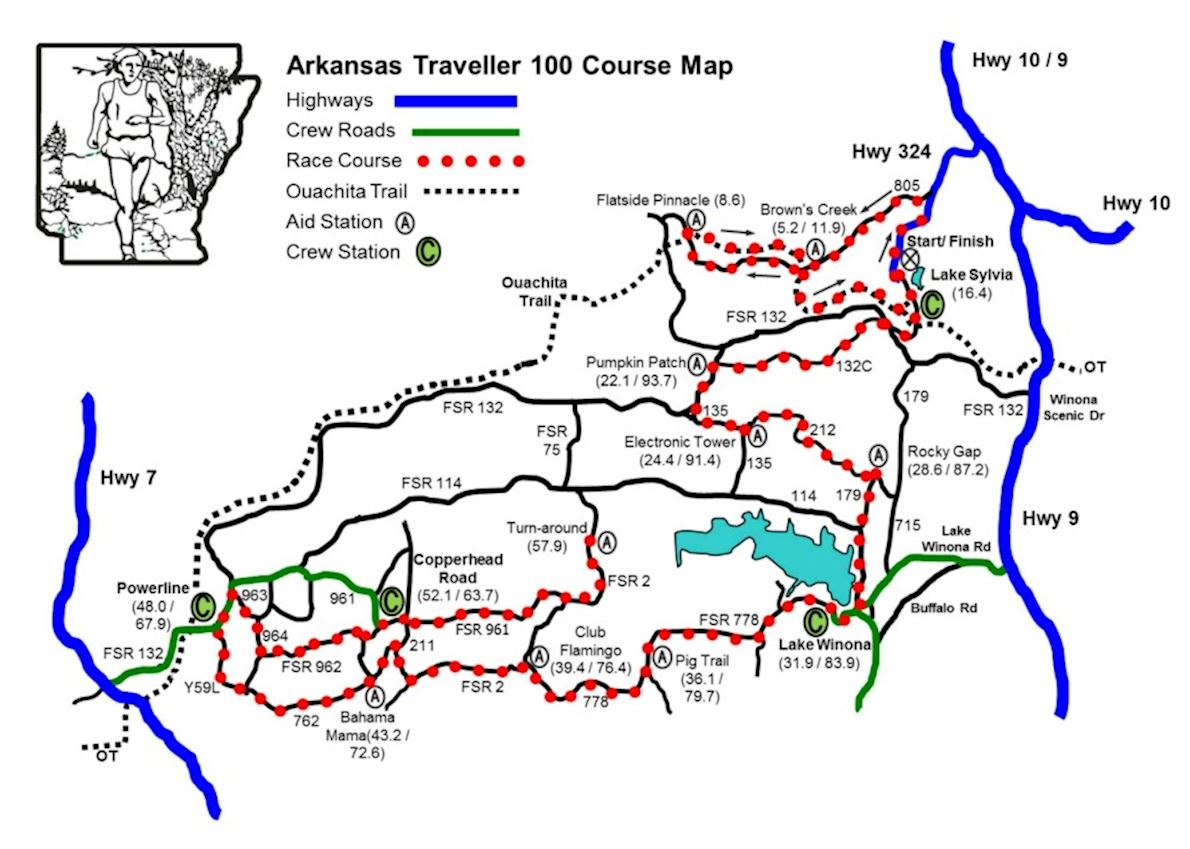 Arkansas Traveller 100 MAPA DEL RECORRIDO DE