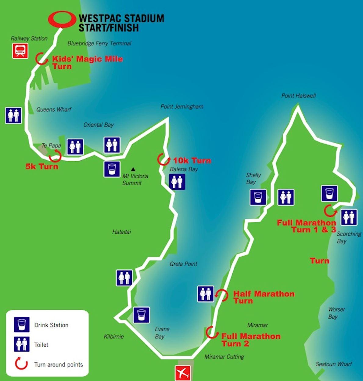 Gazley Volkswagen Wellington Marathon, Half Marathon, 10k Routenkarte