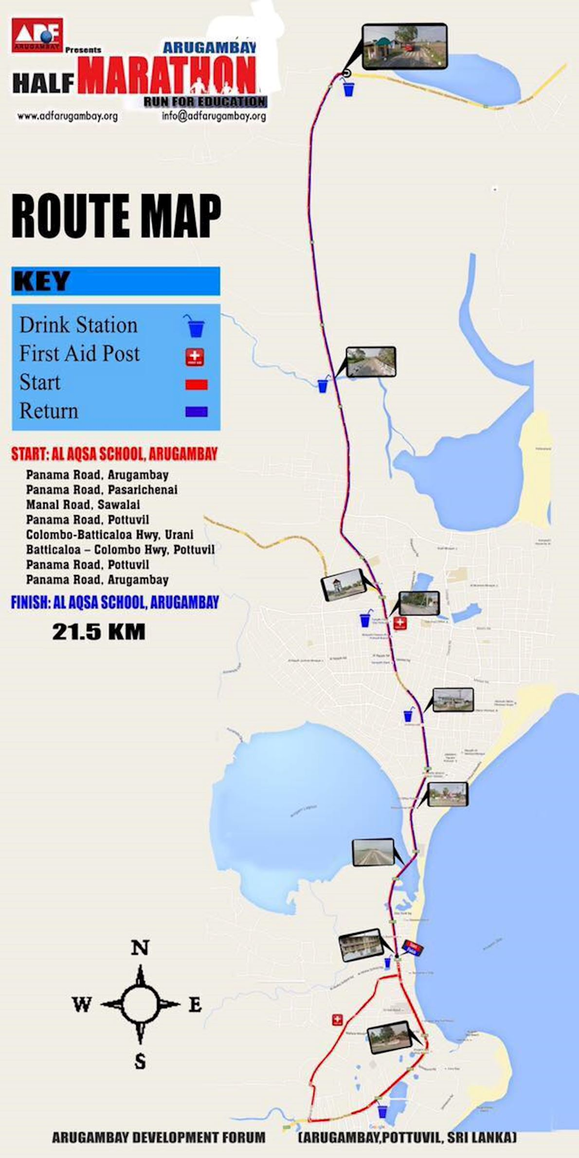 Arugam Bay Half Marathon Route Map