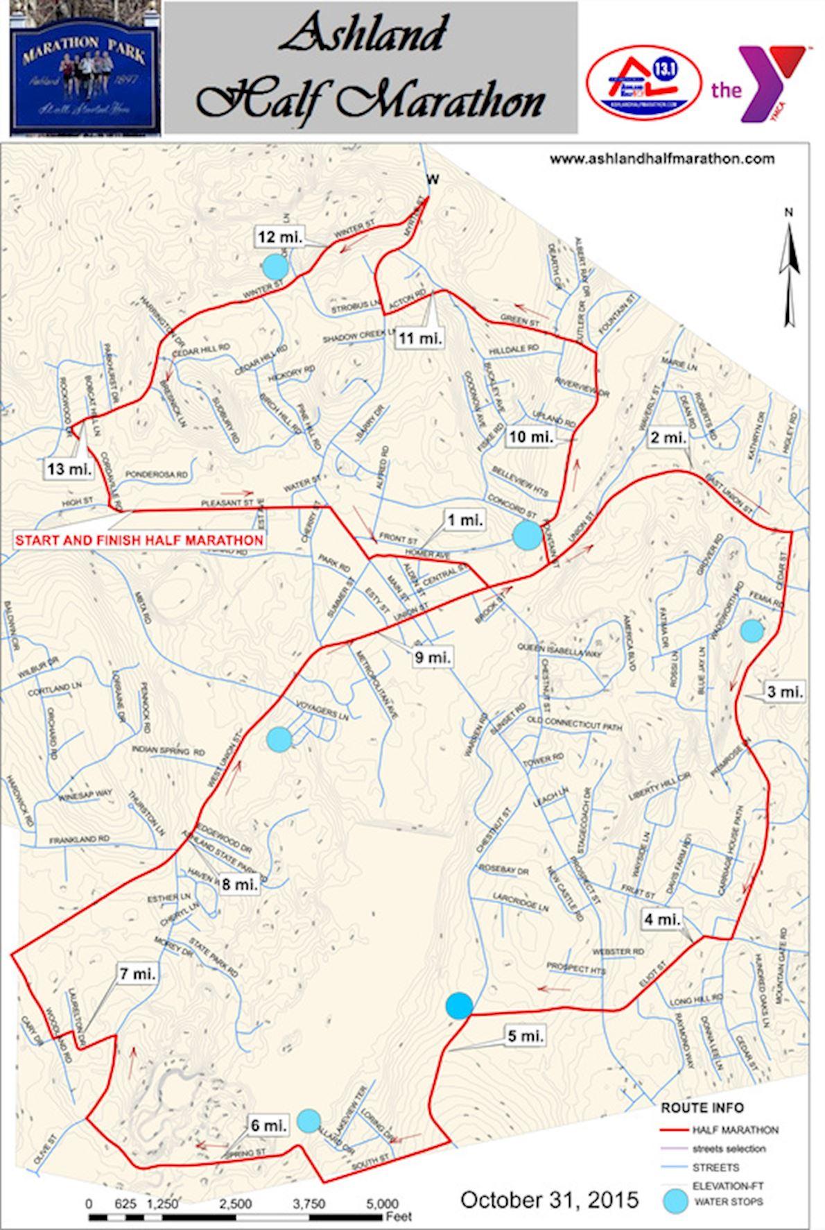 Ashland Half Marathon Route Map