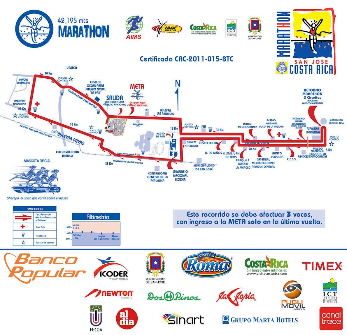 Marathon Internacional Costa Rica Mappa del percorso