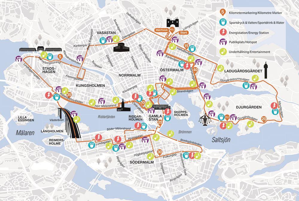 ASICS Stockholm Marathon Routenkarte