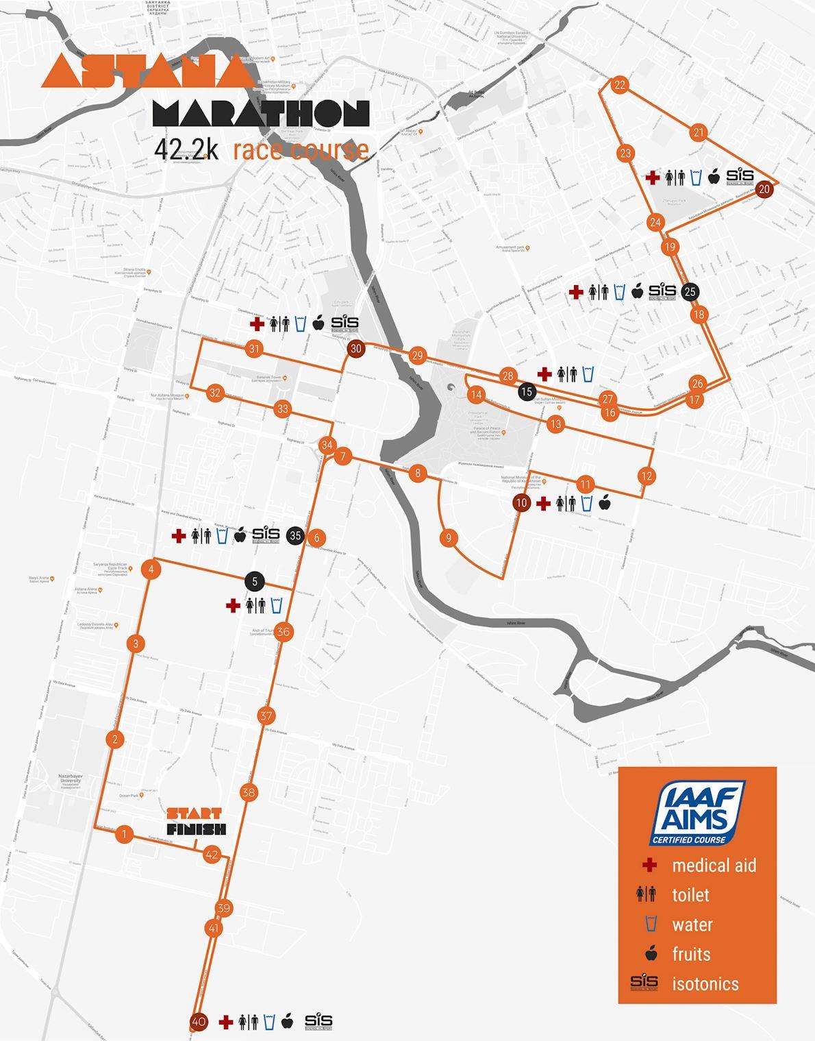 Astana Marathon Route Map