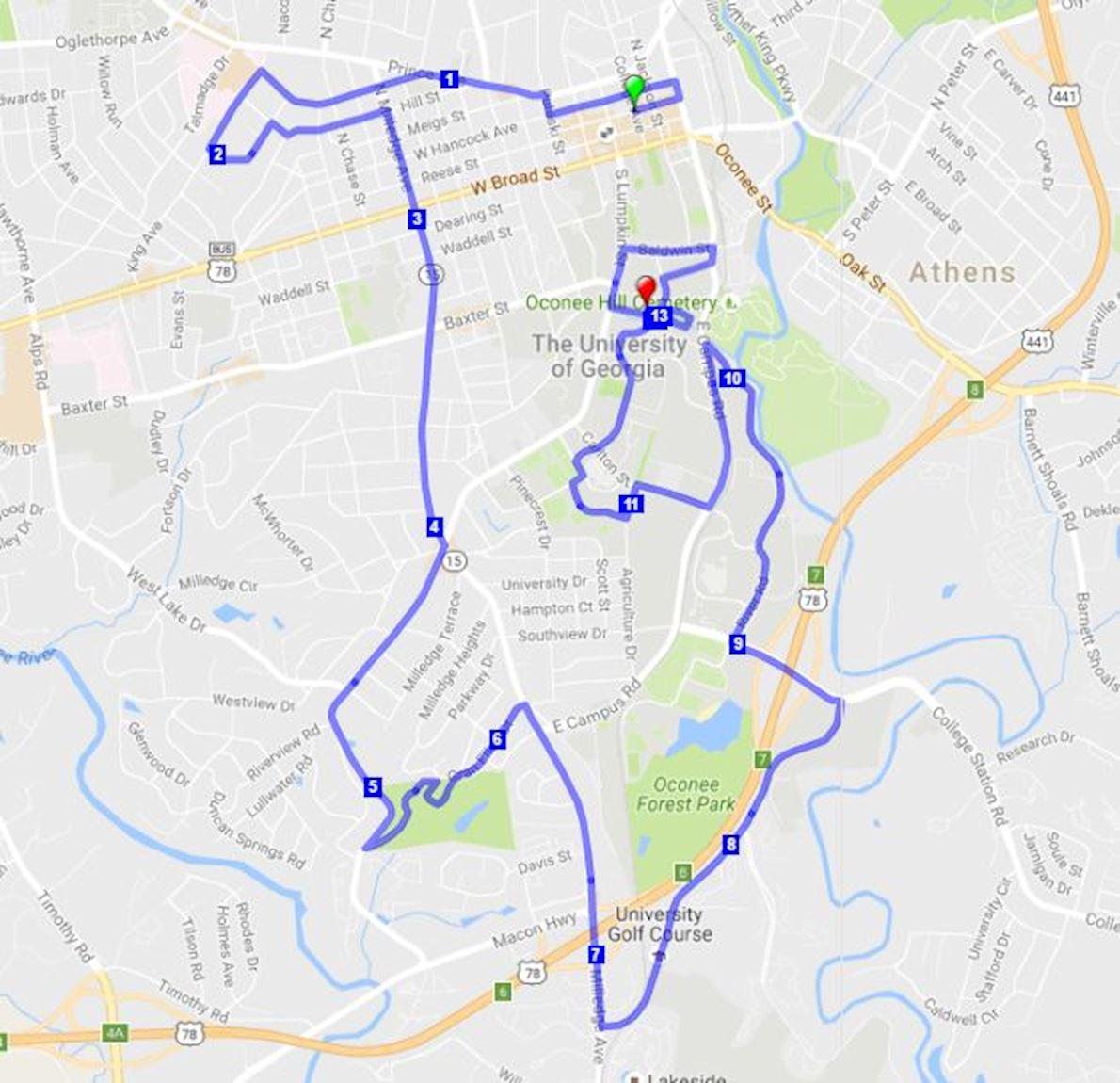 Athhalf - Athens, Georgia Half Marathon Mappa del percorso