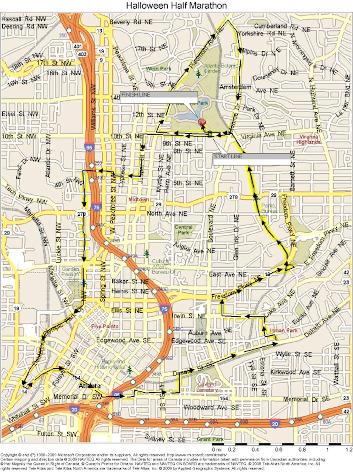Atlanta Halloween Half Marathon & 5K 路线图