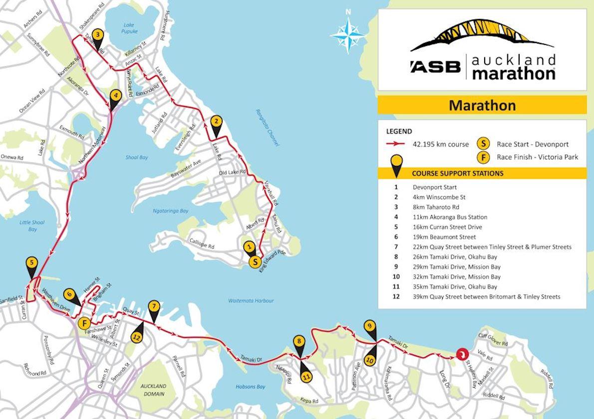 ASB Auckland Marathon Mappa del percorso