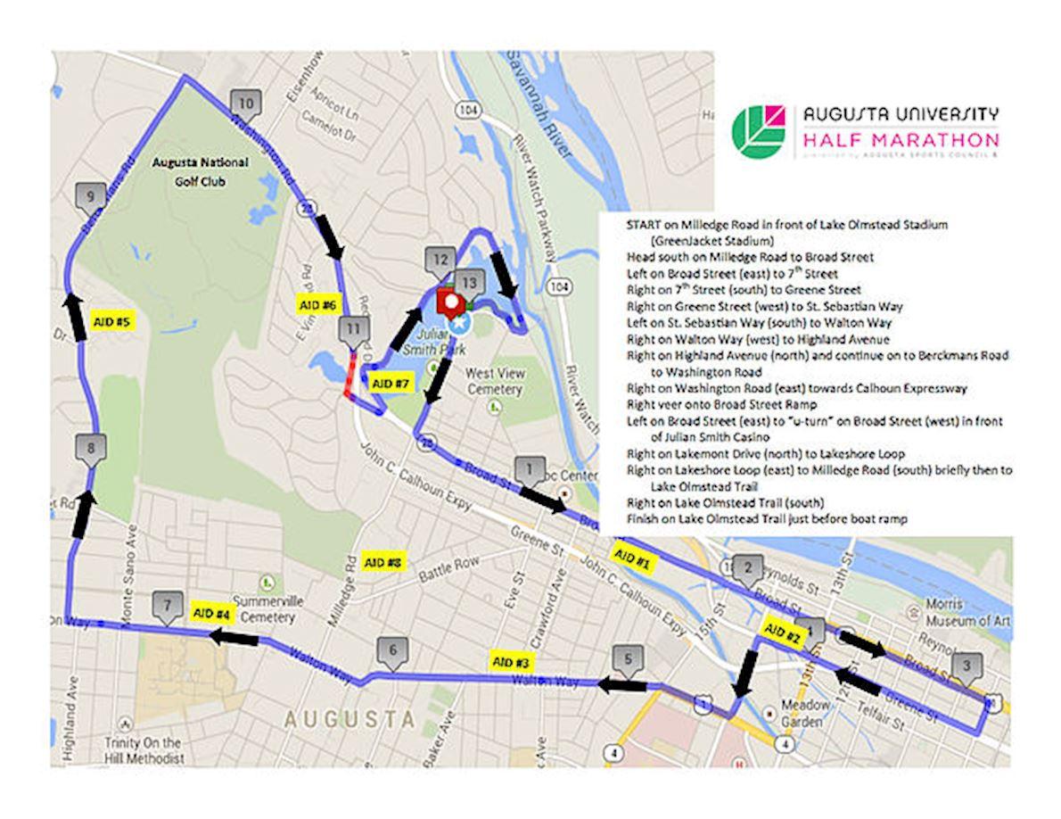 Augusta Half Marathon Routenkarte