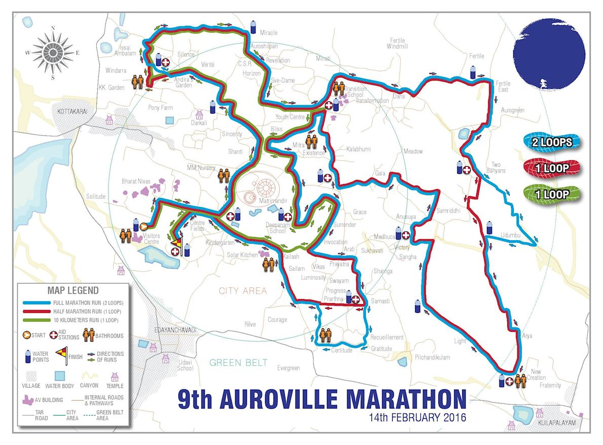 Auroville Marathon MAPA DEL RECORRIDO DE