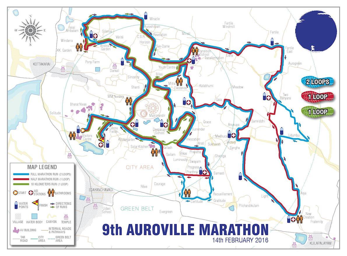 Auroville Marathon Route Map