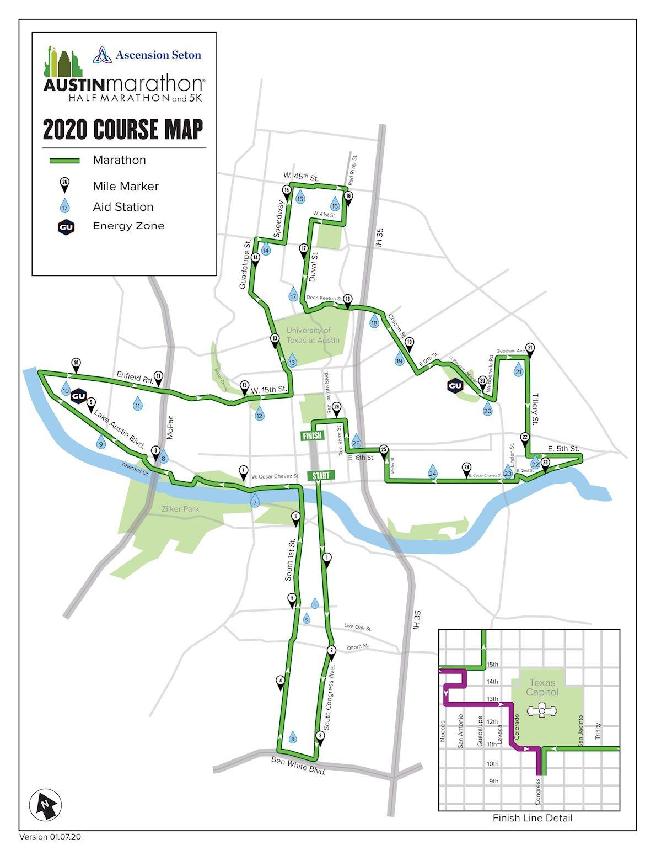 Austin Marathon & Half Marathon Mappa del percorso