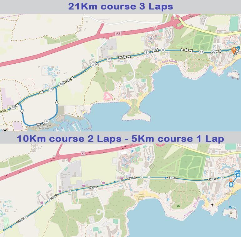 Ayia Napa Half Marathon Route Map