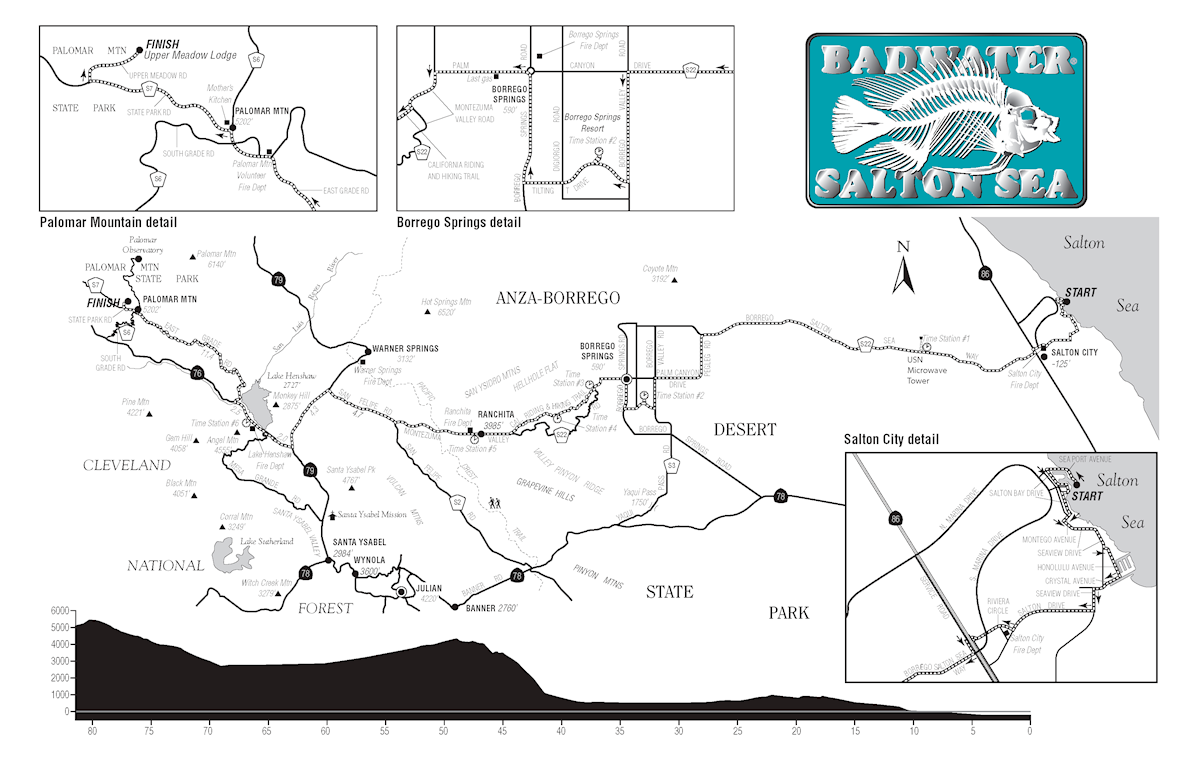 Badwater Salton Sea MAPA DEL RECORRIDO DE