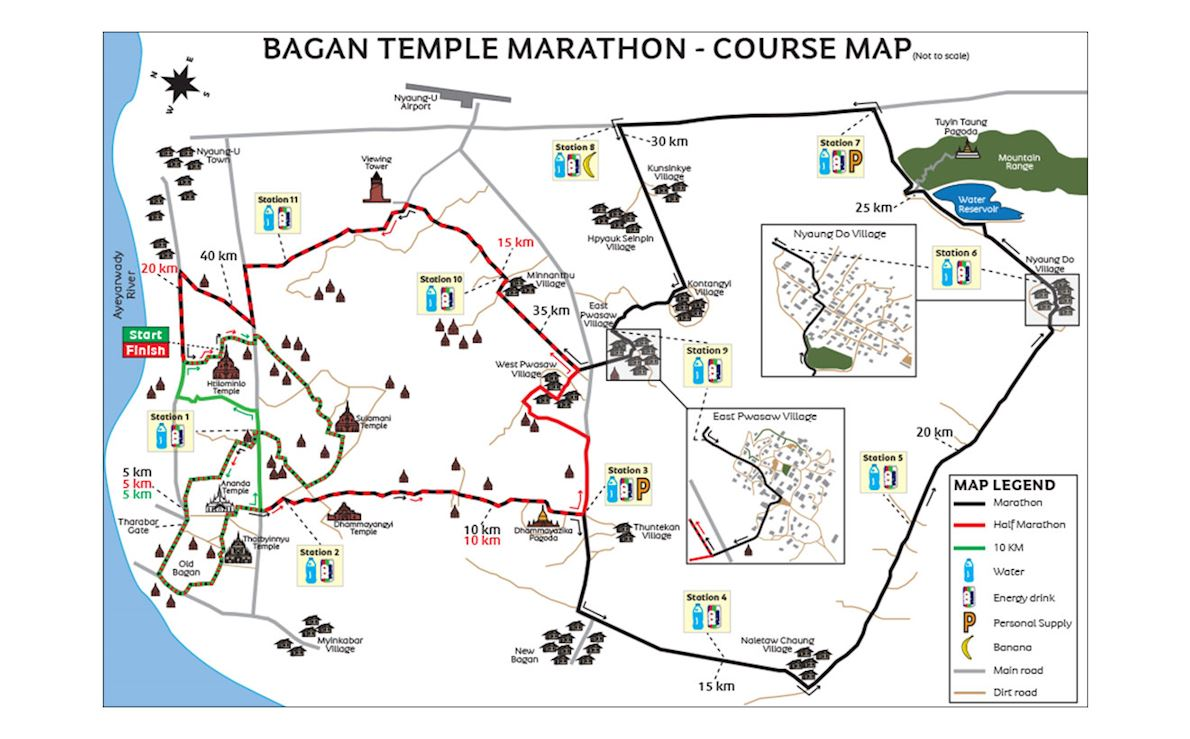 Bagan Temple Marathon Routenkarte