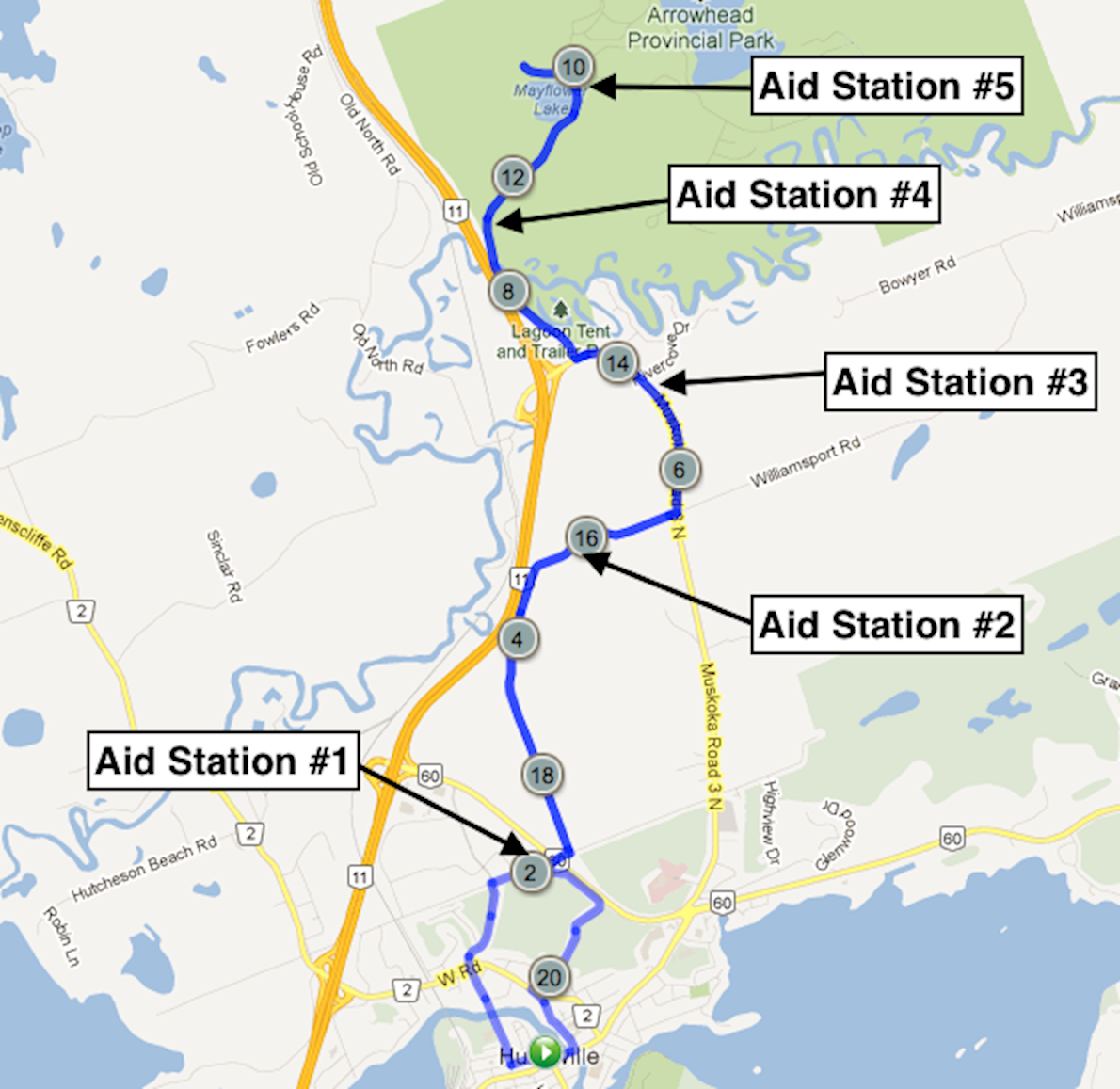 Band on the Run Half Marathon Route Map