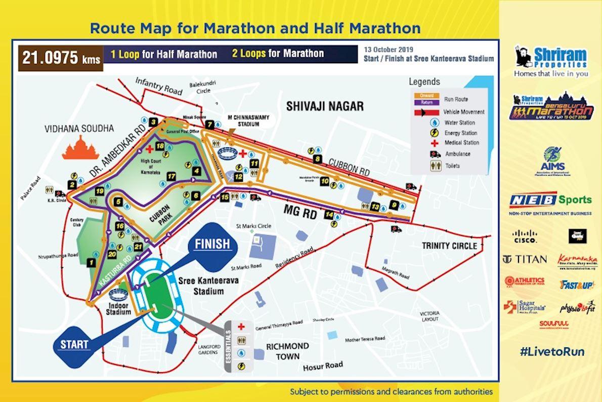 Bangaluru Marathon 路线图