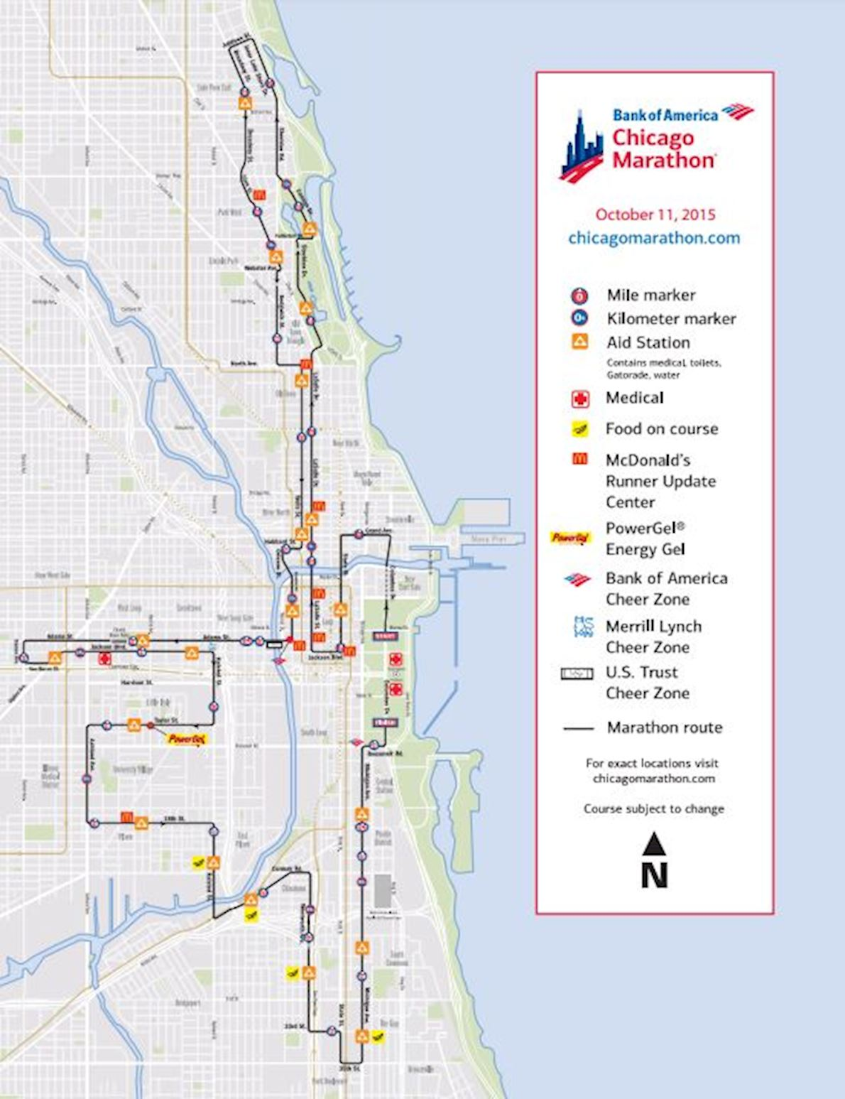 Chicago Marathon 路线图