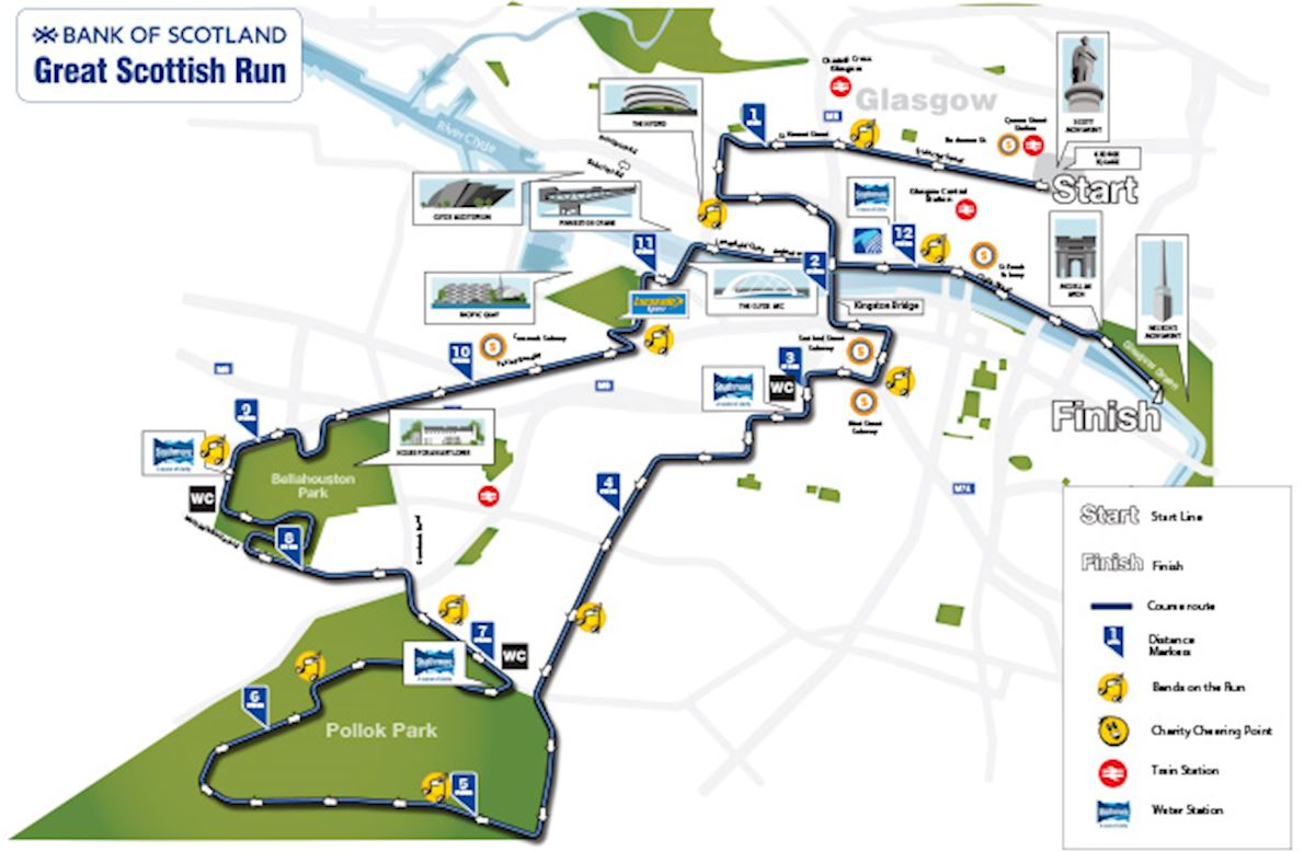 Great Scottish Run Half-Marathon & 10K Route Map