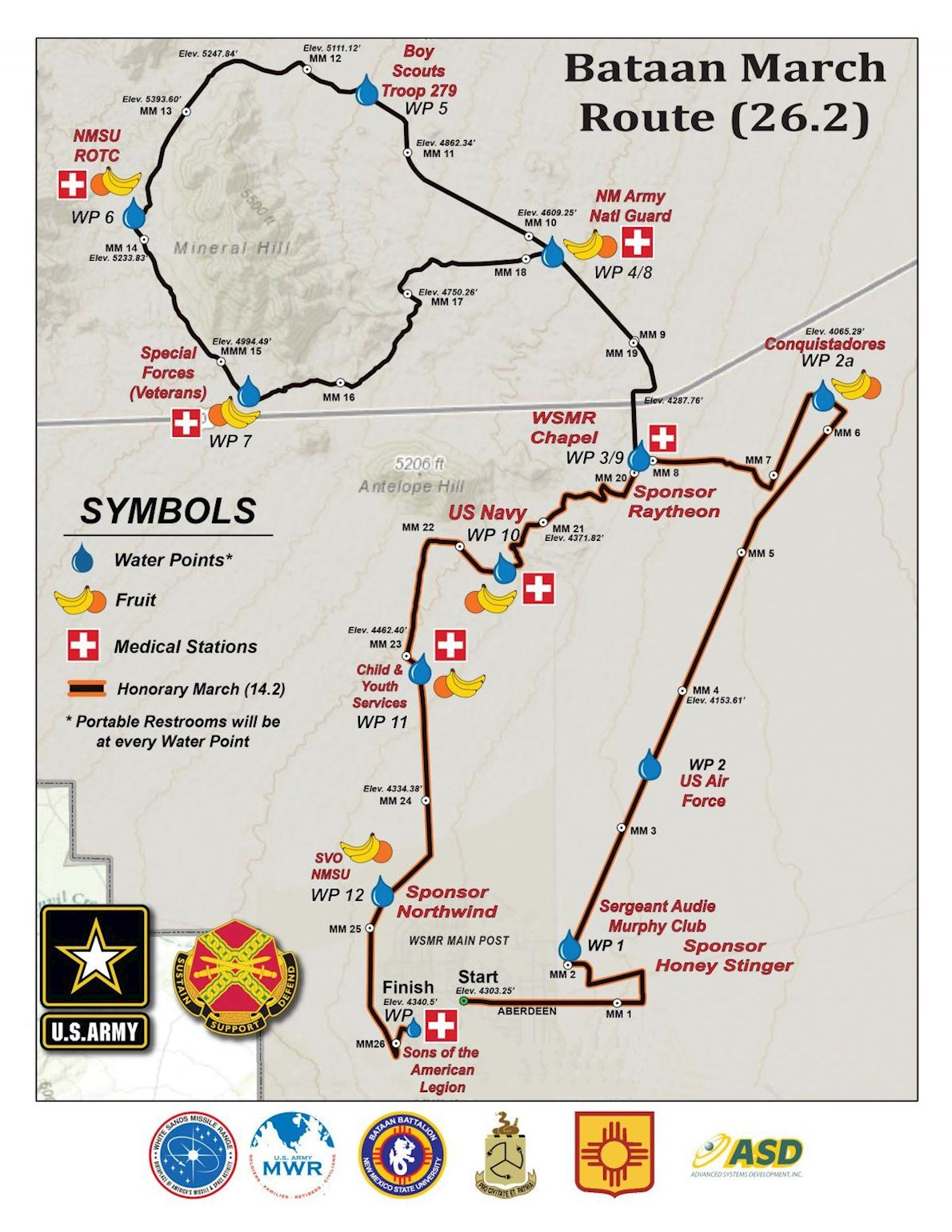 Bataan Memorial Death March Run/Hike Mappa del percorso