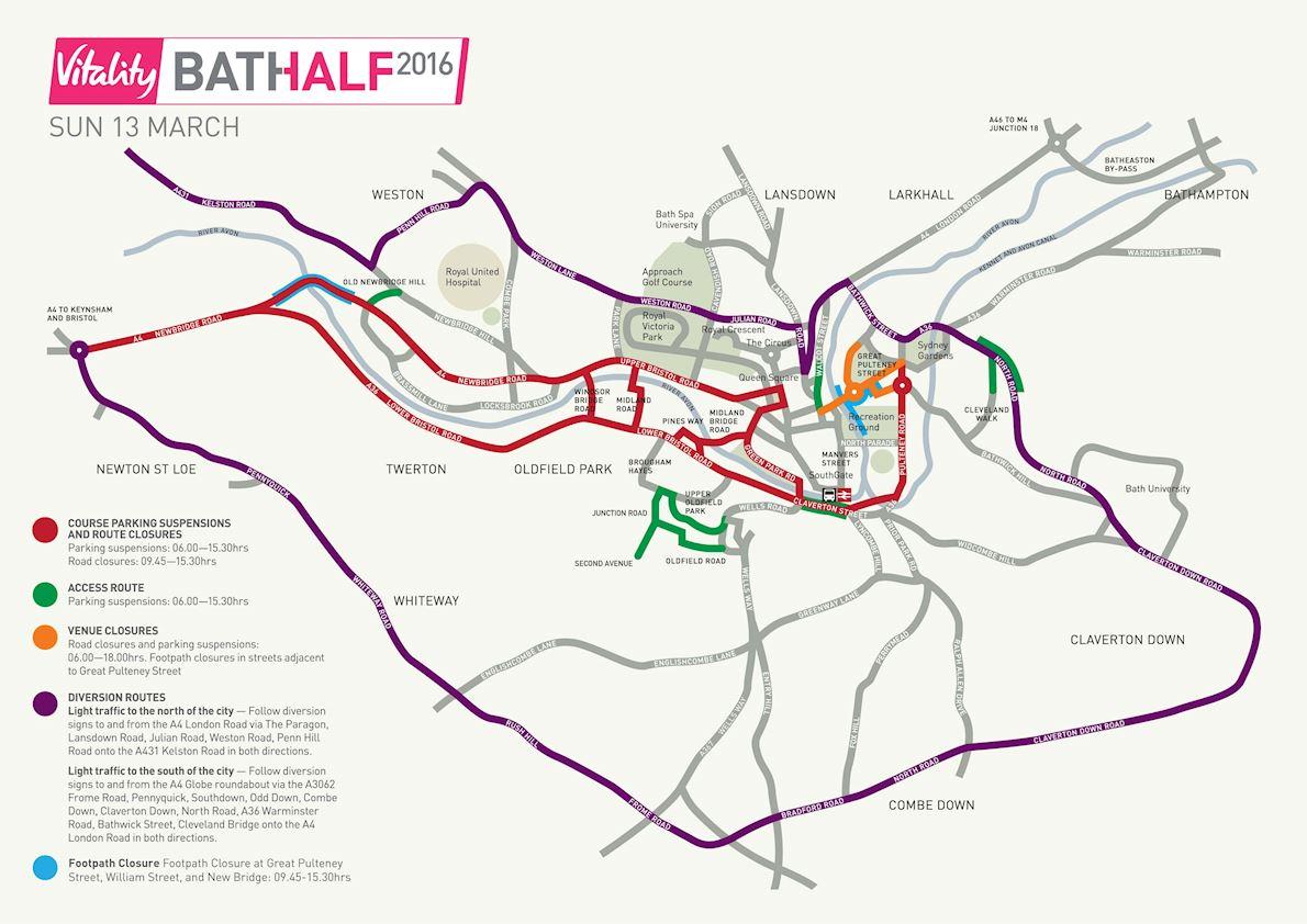 Bath Half Marathon 路线图