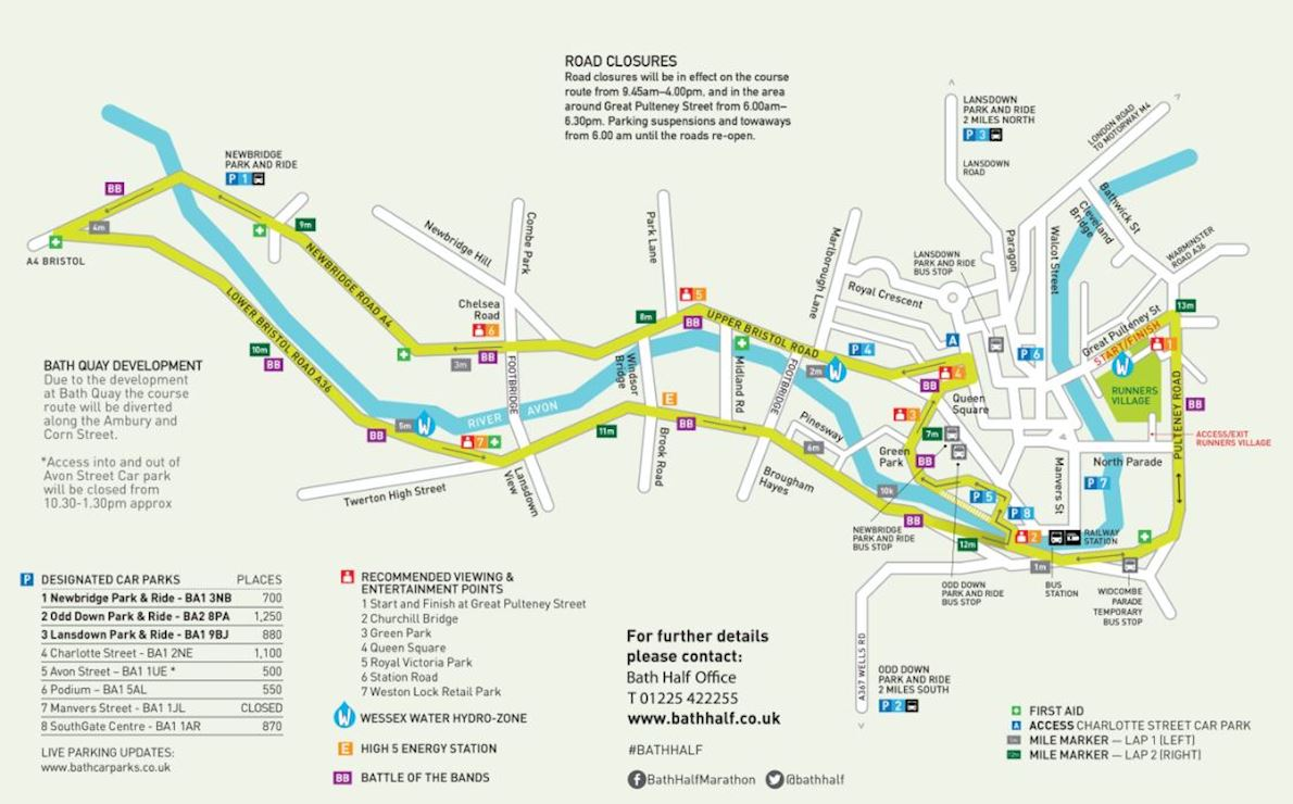 Bath Half Marathon Route Map
