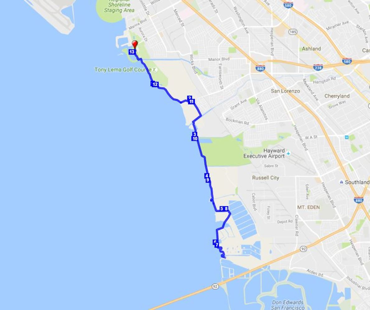 Bay Breeze Half Marathon Route Map