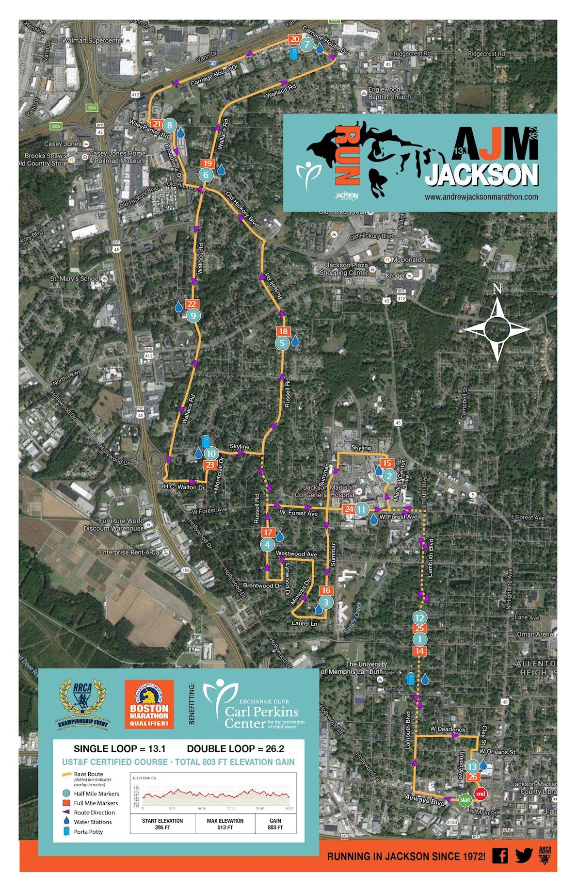 Andrew Jackson Marathon, Half Marathon & 5K Run Routenkarte